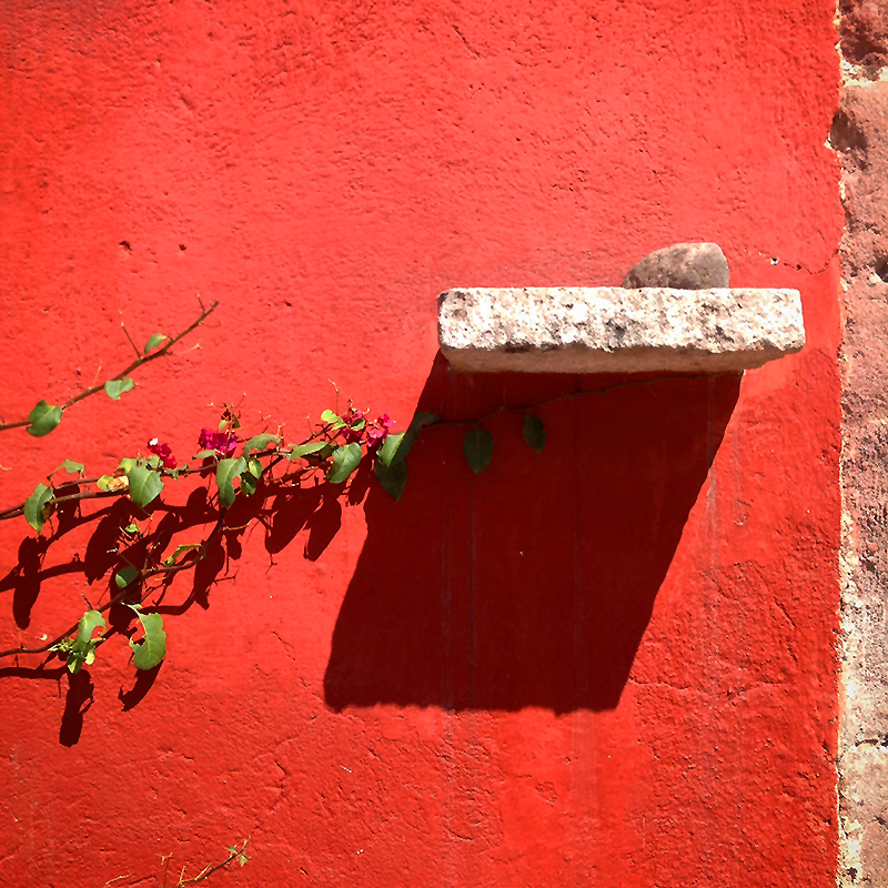 Terra cotta coloured wall in Mexico with a shelf